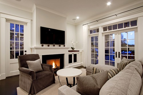 Tips for decorating a mantel with a TV above it. -   DECORATING A MANTEL WITH A TV ABOVE