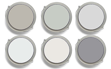 Gray paint colors shown in paint cans