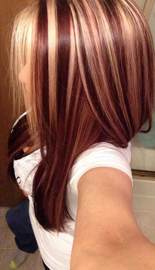 Blonde Hair with Auburn Highlights Idea
