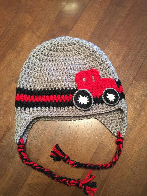 Crochet John Deere tractor baby hat with ear flaps. | How ...
