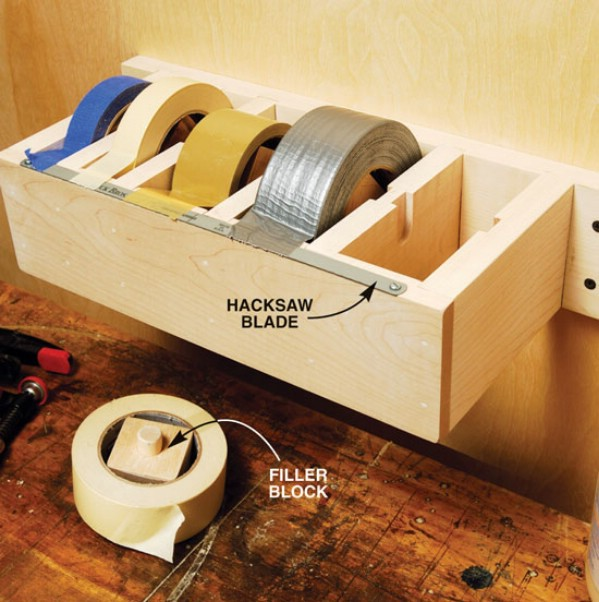 Make a Dispenser for Tape -   Brilliant Garage Organization ideas that will make life easier. Great ideas, tips, tutorials for insanely easy garage