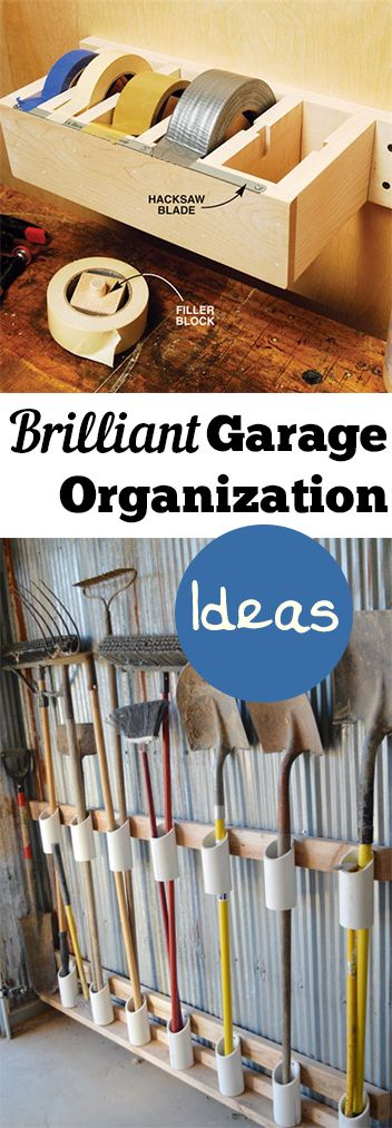 Great Shove Rack for Organizing Garden Tools -   Brilliant Garage Organization ideas that will make life easier. Great ideas, tips, tutorials for insanely easy garage