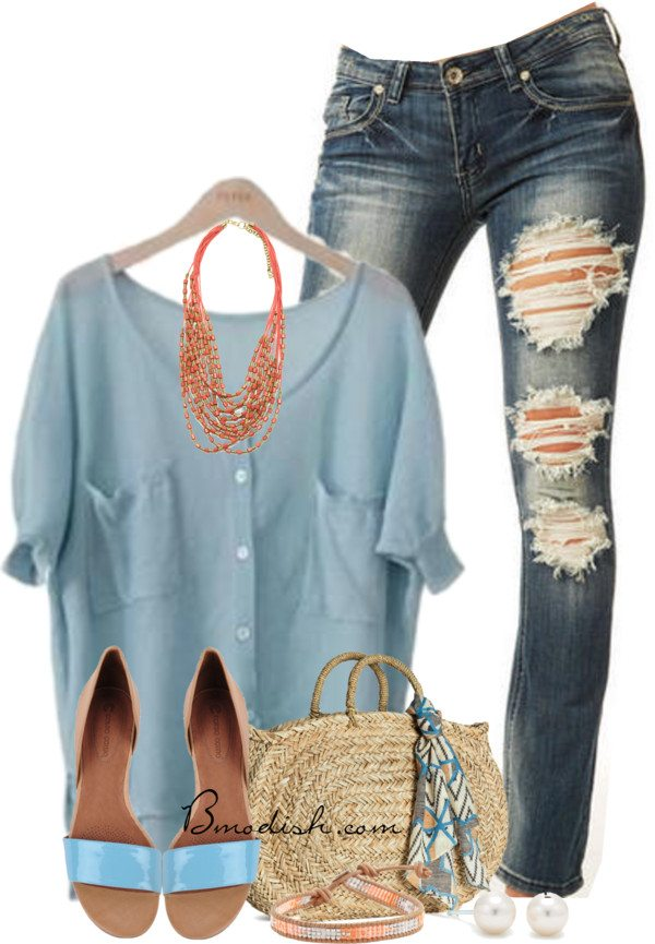 baby blue blouse casual outfit
