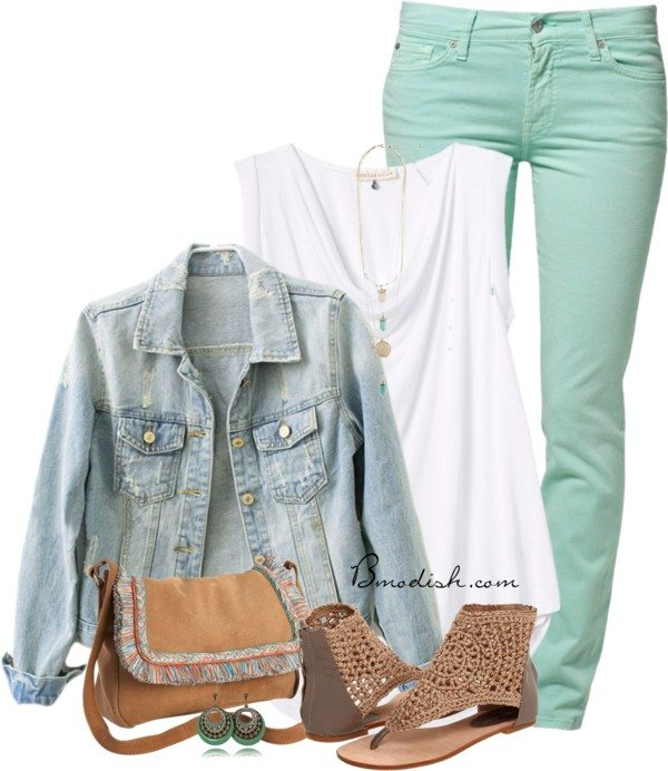 casual outfit with denim jacket polyvore outfit