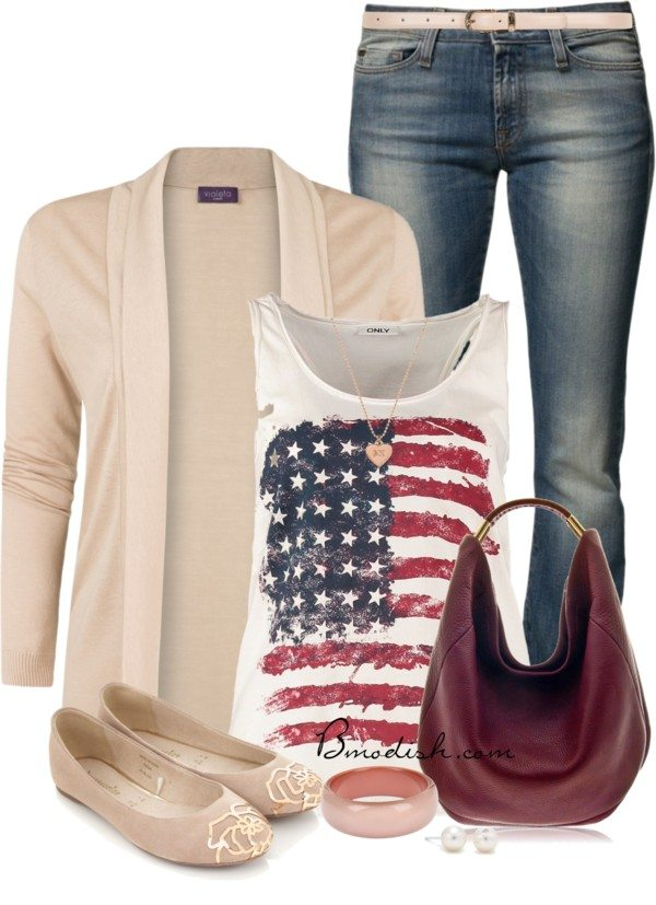 casual patriotic tank top outfit
