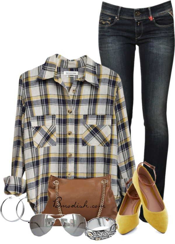casual plaid shirt outfit idea