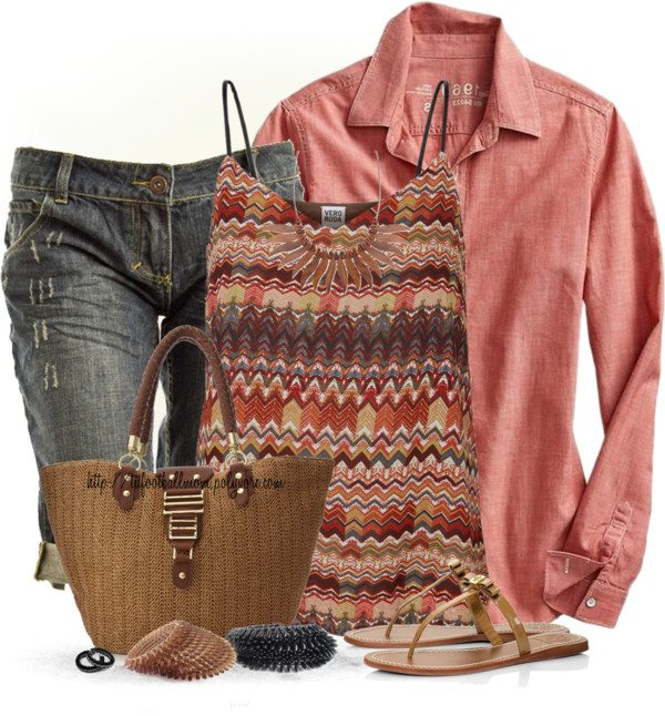 casual printed tank top outfit