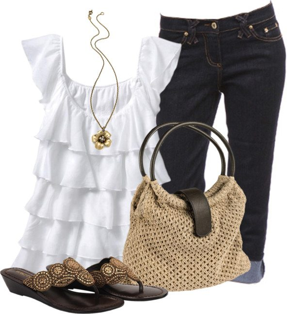 casual ruffle top outfit