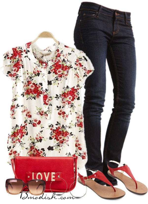 floral blouse polyvore summer outfit