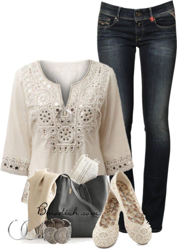 polyvore outfit with tunic