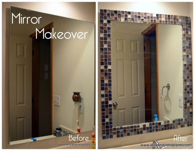 Bathroom Mirror Frames Diy'S, Tile Frames Bathroom Mirror, Tile Mirror ... -   Great DIY Mirror frame ideas