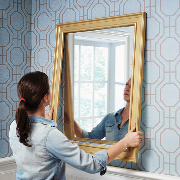 Install your DIY mirror frame by hanging it onto the mirror. -   Great DIY Mirror frame ideas