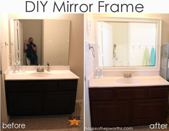 The kids' bathroom mirror gets framed -   Great DIY Mirror frame ideas