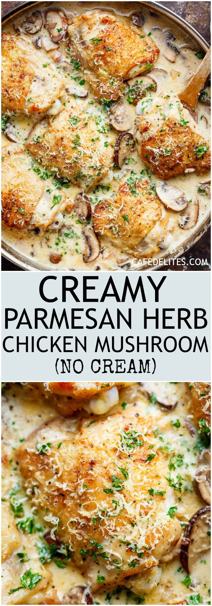 A thick and lightened up Creamy Parmesan Herb Chicken Mushroom with a kick of garlic is your new favourite dinner recipe! With NO