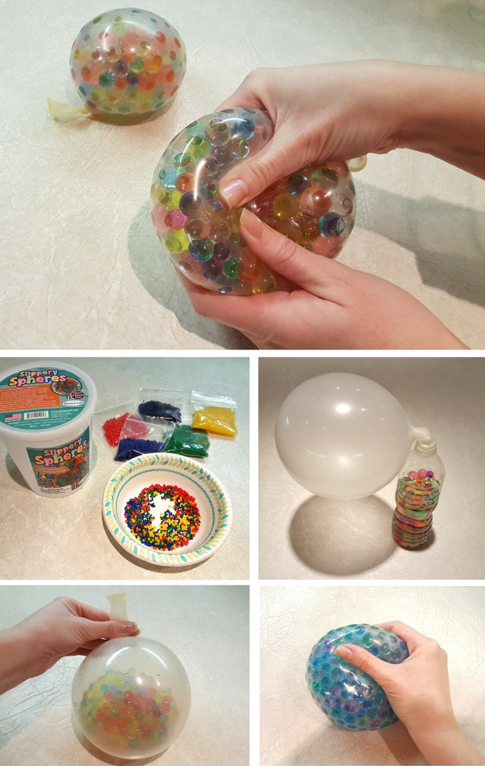How to make your own sensory stress balls using polymer beads and balloons.