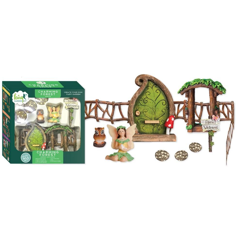Arcadia Garden Products Charming Forest Polyresin Fairy Garden Kit (11-Piece) -   Awesome miniature fairy garden ideas