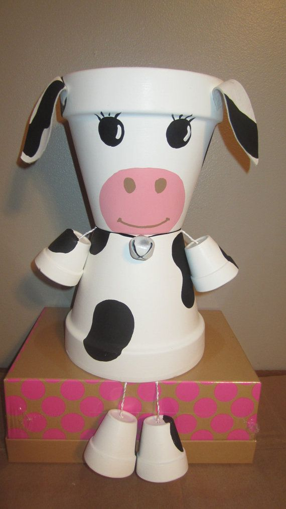 Clay pot terra cotta cow by Family Time Crafts (FB) -   Best clay pot garden crafts ideas