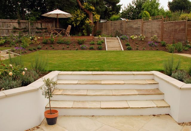The combination of rendered walls, wide steps, warm stone copings and nice planting is very nice. A white render and darker brown or grey stone would look good in the cottage - a more refined version of what you currently have. -   22 garden steps retaining wall ideas