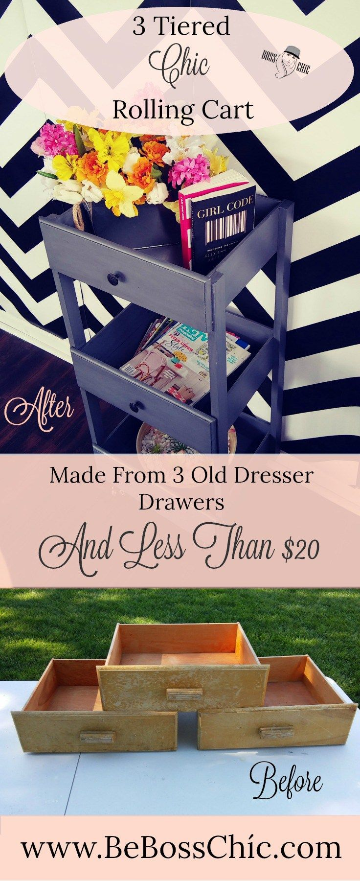DIY 3 Tiered Chíc Rolling Cart/Side Table-Made From Dresser Drawers -   25 house diy decor ideas