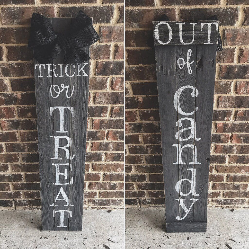 Reversible Trick or Treat Porch Sign -   19 holiday Decorations porch ideas