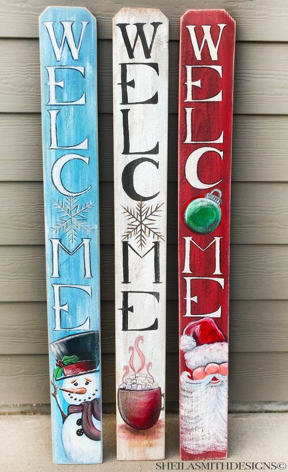 CHRISTMAS Welcome SIGN, Winter WELCOME sign, Snowman Welcome Sign, Vertical front door welcome sign, Santa welcome sign, Christmas decor -   19 holiday Decorations porch ideas