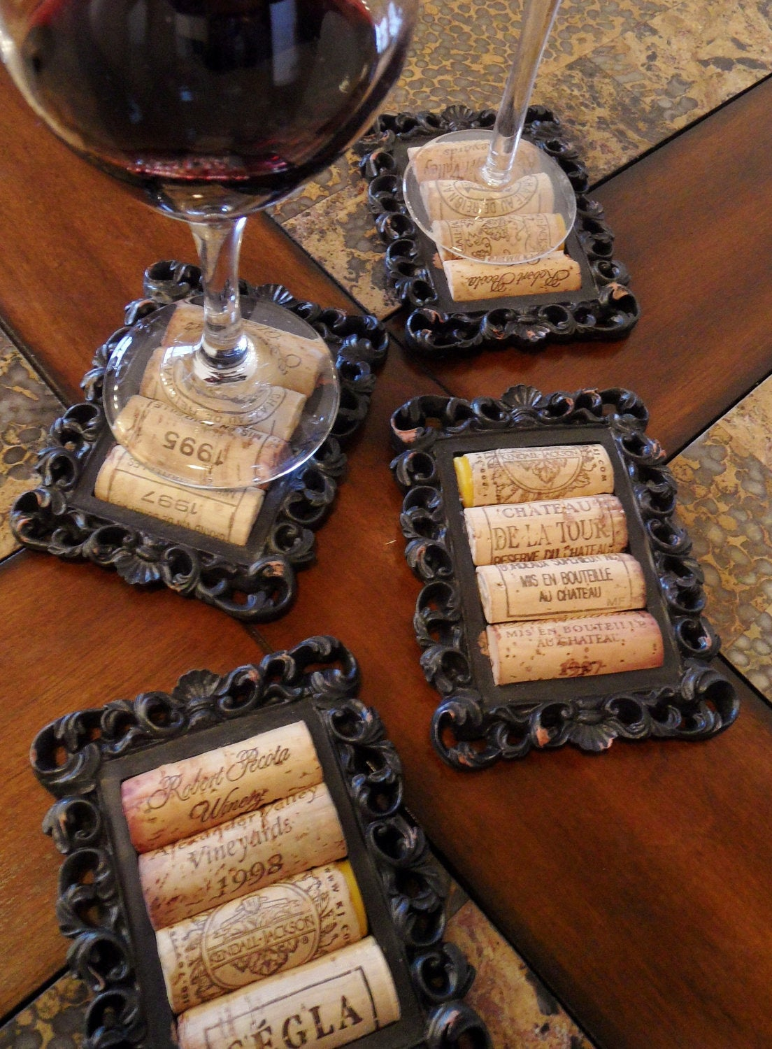 4 Black Rustic Cork Coasters