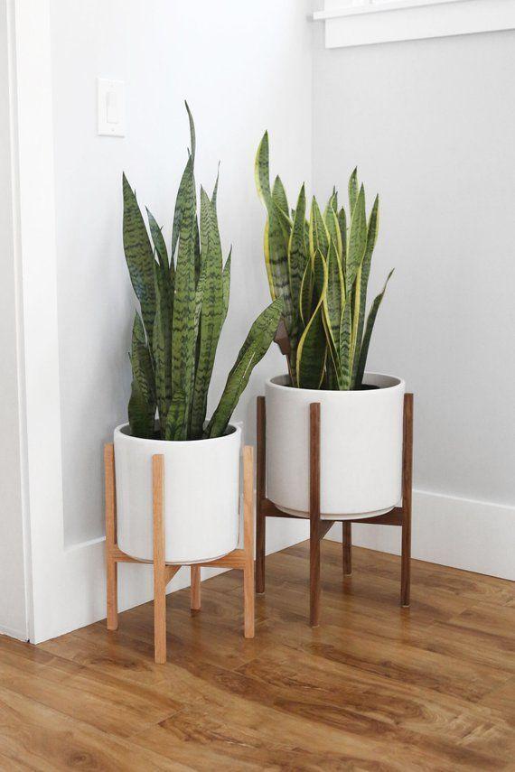 Medium - Mid Century Modern Planter with Plant Stand, 10