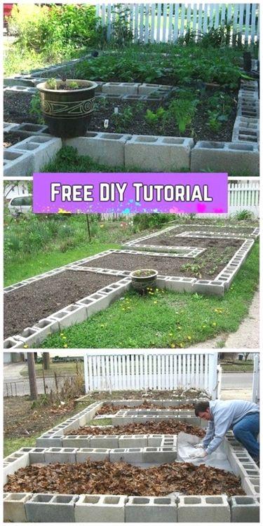 Diy Cinder Block Raised Garden Bed Tutorial With Video 16 Garden