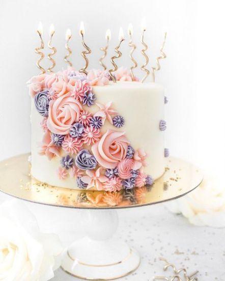 Birthday cake elegant flowers simple -   18 cake Girl flower ideas