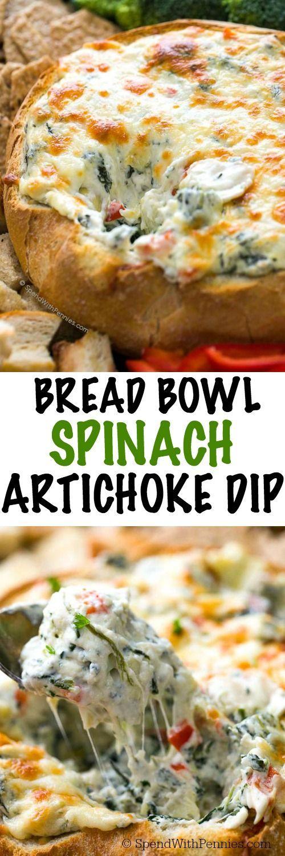 Bread Bowl Spinach and Artichoke dip recipe