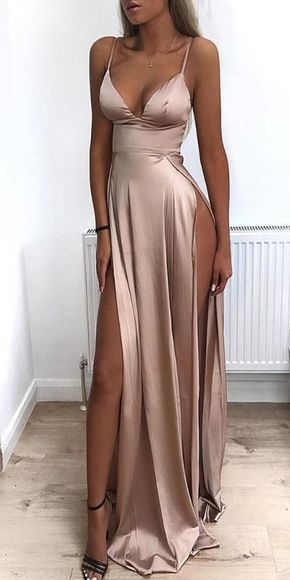 2019 Cheap Spaghetti Straps Side Split Simple Modest Sexy Prom Dresses Slit Formal Gowns Cheap Evening Gowns N9522 -   16 dress For Work party ideas