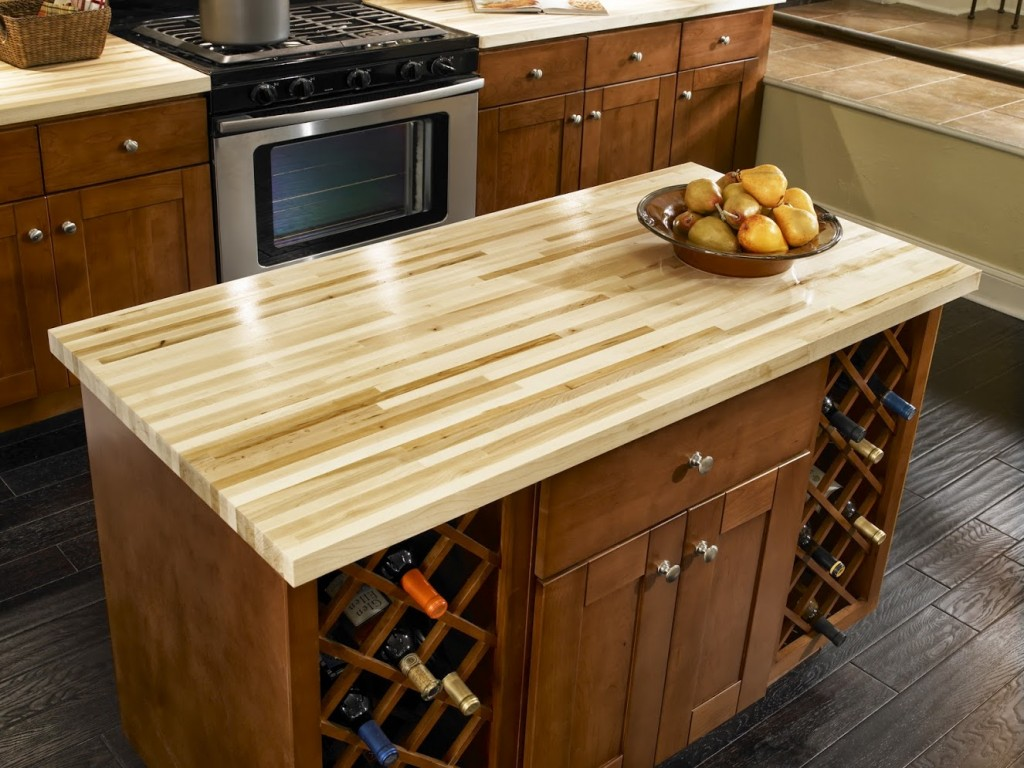 chic-kitchen-island-with-butcher-block-countertop-and-wine-bottle-stand-for-kitchen-furniture-idea